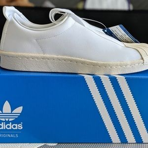 reputable site 0dc69 2d9c3 Adidas Superstar Slip On Leather 7.5 W BW3S BY9139 NWT